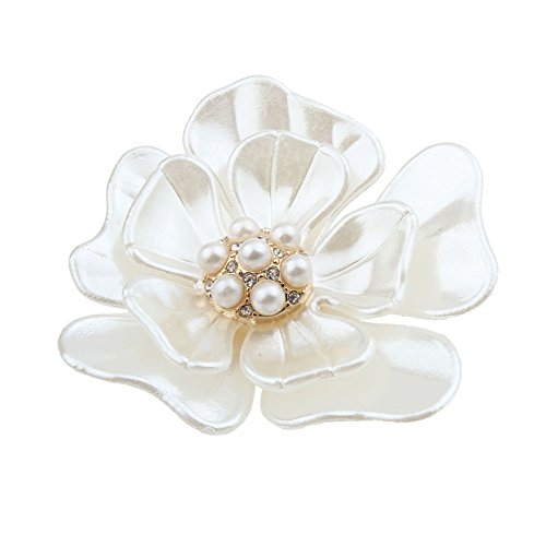 Botrong New Flash Diamond Pearl Corsage Camellia Brooch Scarf Buckle Brooch (White) 14k Yellow Gold Ribbon
