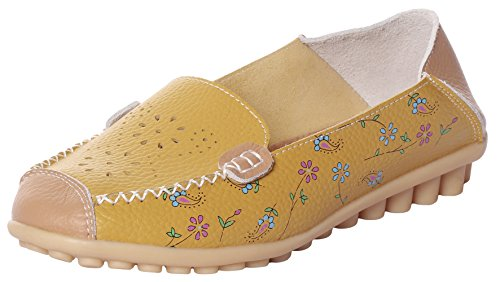 MEWOOCUE Women's Yellow Floral Print Leather Moccasins Loafers Shoes Casual Driving Penny Slip On Loafer Flat ()