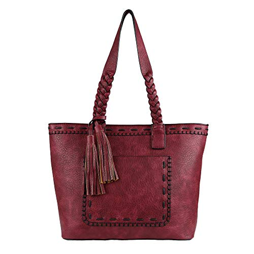 Concealed Carry Purse - Locking Sophia Stitched Tote by Lady Conceal (Burgundy)
