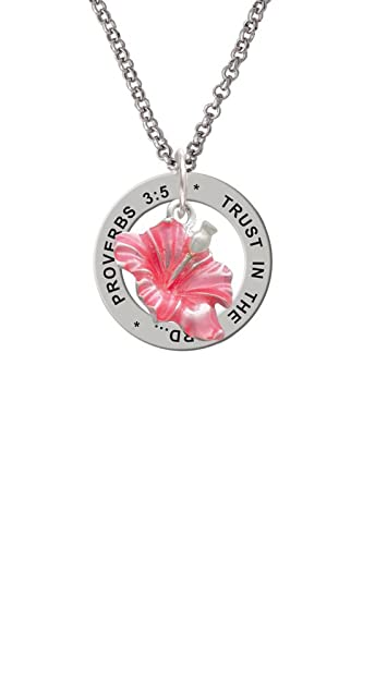 Amazoncom Silvertone Hot Pink Hibiscus Flower Proverbs 35