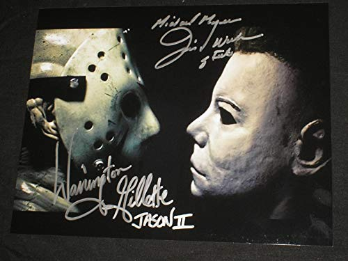 JIM WINBURN & WARRINGTON GILLETTE 2X Signed Myers vs Jason 8X10 Photo Friday the 13th Halloween A