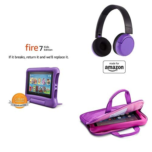 Fire 7 Kids Essential Bundle including Kids Fire 7 Tablet 16GB Purple + Poptime Bluetooth Headset (Ages 8-15) + Tablet Carrying Sleeve