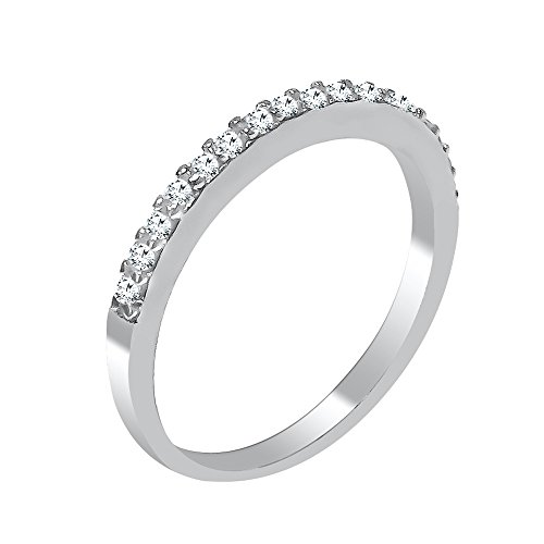 DTLA Ladies Thin Band .925 Sterling Silver Micro Pave Cubic Zirconia (7) by DTLA Fine Jewelry (Image #1)