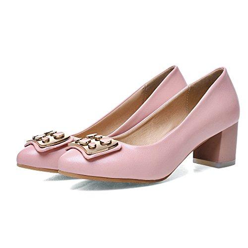 AllhqFashion Mujeres Tacón ancho Sólido Puntera Redonda Cerrada De salón con Ornamento Metal Rosa
