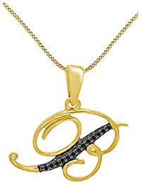 Black Natural Diamond B Initial Pendant in 14k Yellow Gold Over Sterling Silver (0.03 Cttw)