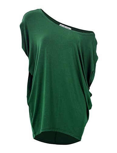 GLOSTORY Women's Plus Size Knitted T Shirt Tops Short Sleeve Off Shoulder Batwing Blouse 1667 (XL, Dark Green)