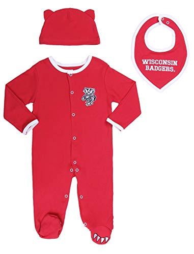 Layette Apparel (Wisconsin Badgers Baby Boy (3pc) Footie, Bib and Hat Set (6M))