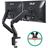 EleTab Dual Monitor Mount Stand - Height Adjustable Monitor Arm Stand Fully Articulating Counterbalance Gas Spring Desk Mount Fits for 2 Computer Screens 17 to 32 inches