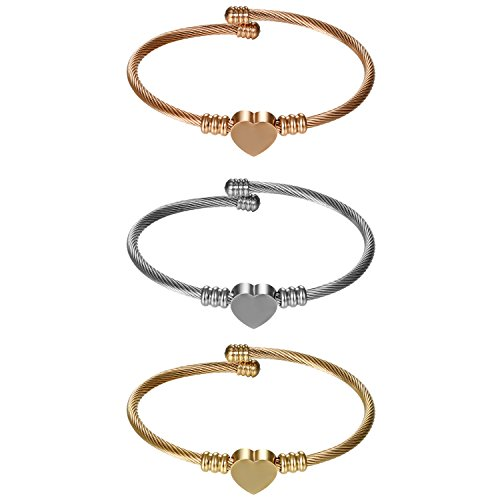 Cupimatch Women Adjustable 3 pcs Titanium Steel Heart Love Bracelet, Twisted Cable Wire Charm Cuff Bangle (Wire Cuff)