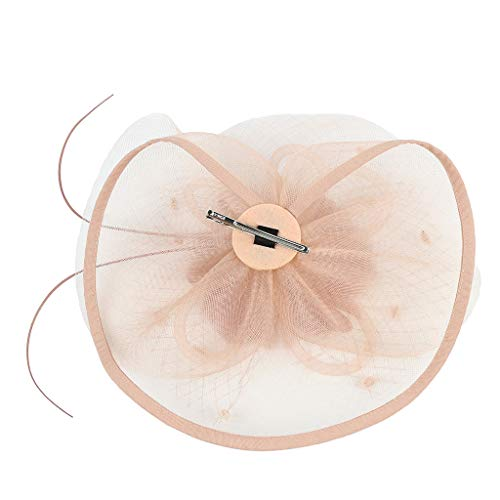 (UROSA Women Girl Fascinators Hair Clip Hairpin Hat Feather Cocktail Wedding Tea Party Headwear Pink)