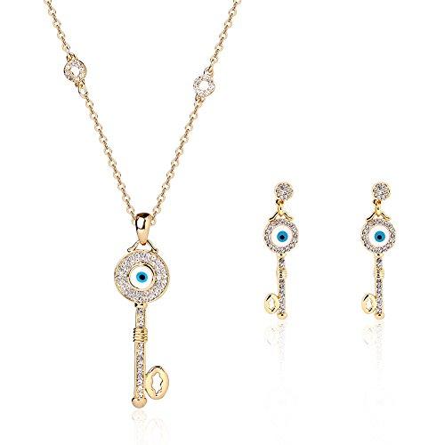 POKICH 18K Gold Necklace Set Women Fashion Key Shape with Eyes Tone Earring and Necklace Set Elegant Jewelry Set