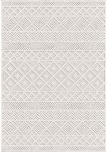 Orian Rugs Boucle Collection Indoor Outdoor High-Low Coastal Diamond Area Rug, 9 x 13 , Natural Ivory