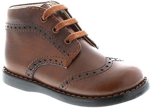 Footmates Baby Boy's Cole Laceup Perf First Walker (Infant/Toddler) Cognac (Burnished Cognac)