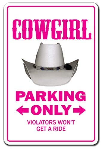 Cowgirl Novelty Sign | Indoor/Outdoor | Funny Home Décor For Garages, Living Rooms, Bedroom, Offices | Signmission Farm Western Gift Horse Gag Funny Rodeo Sign Wall Plaque Decoration