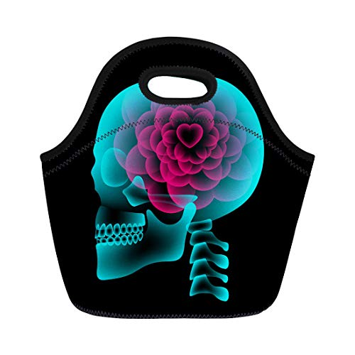 (Semtomn Neoprene Lunch Tote Bag Skull X Ray Heart Flower Symbol Love Side View Reusable Cooler Bags Insulated Thermal Picnic Handbag for Travel,School,Outdoors, Work)