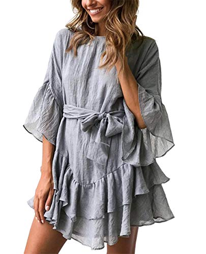 PRETTYGARDEN Women's Casual Solid Color O-Neck 3/4 Bell Sleeve Ruffle Swing A Line Mini Dress Sundress with Belt (Grey, Large) (Jewelry To Wear With Lace Wedding Dress)
