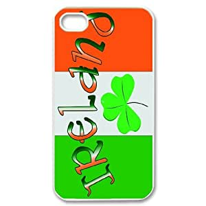 FOR Iphone 4 4S case cover -(DXJ PHONE CASE)-Irish Flag with Celtic Clover-Lucky Clover-PATTERN 8