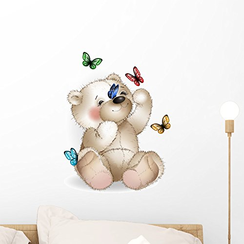 Wallmonkeys Happy Teddy Bear and Wall Decal Peel and Stick Graphic (18 in H x 18 in W) WM33747