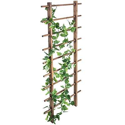 MyGift Ladder Style Dark Brown Wood 4.5-ft Garden Trellis for Climbing Plants