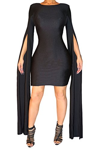 Women's Sexy Fashion Stylish Split Floor Length Sleeve Slim Fit Bandage Club Dress (XL, black)