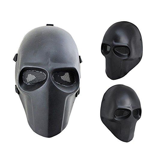 iMeshbean Skull Mask Outdoor Hunting Cs War Game Mask Full Skull Skeleton Airsoft/Paintball/BB Gun/CS Full Face Protect Mask Gear Tactical Airsoft/Cosplay Mask (Black Mask)