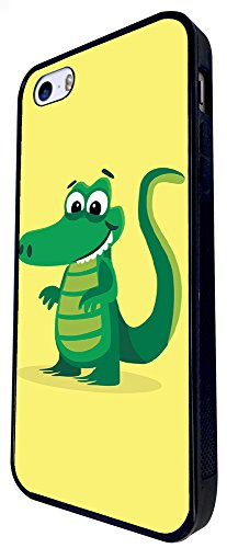 1141 - Cute Fun Crocodile Animal Drawing Yellow Design iphone SE - 2016 Coque Fashion Trend Case Coque Protection Cover plastique et métal - Noir
