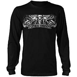 Lethal Threat (LT20206M) Men's Biker Skull Long Sleeve T-Shirt (Black, Medium)