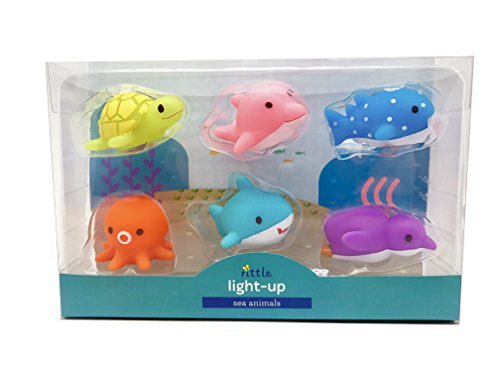 Rittle Sea Animals, Cute Floating Light-up Bath Toys (Set of (Light Up Rubber Ducks)