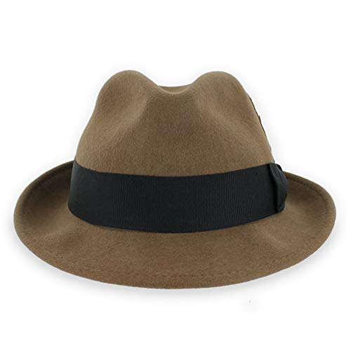(Belfry Trilby Men/Women Snap Brim Vintage Style Dress Fedora Hat 100% Pure Wool Felt in Black, Grey, Navy, Brown and Pecan (XXLarge, Pecan))