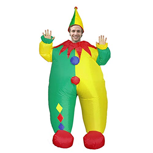 BIGPETS Inflatable Clown Mascot Costume Adult Blow up Dress Outfits Cosplay Unisex Suits (Yellow Green) ()