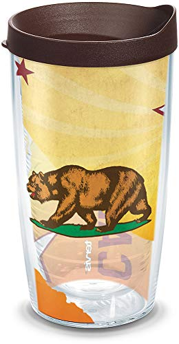 Tervis 1135237 California State Flag Colossal Insulated Tumbler with Wrap and Brown Lid, 16oz, - 16 Ounce Tumbler California