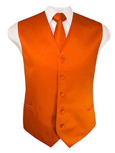 Guytalk Mens 3 Piece Tuxedo Vest for Formal Party, Wedding, Prom, Bartender XXL Orange (Three Piece Vest)