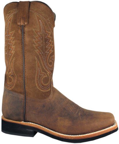 Smoky Mountain Men's Boonville Cowboy Boot Square Toe Brown 9 EE US (Womens Square Toe Boot)