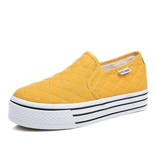 zapatos de lona de mujeres/Zapatos planos blancos/Zapatos de mujer casual estudiante/Blanco Le Fu, zapatos de plataforma con suela gruesa F