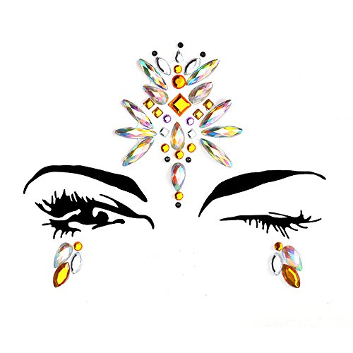 6 Sets Women Mermaid Face Gems Glitter,Rhinestone Rave Festival Face Jewels,Bindi Crystals Face Stickers, Eyes Face Body Temporary Tattoos for Music Festivals Vibe Bohemian Coachella by Diva Woo (Image #5)