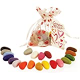 Crayon Rocks Valentine Gift in White with Red Hearts