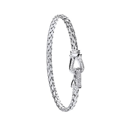 En argent sterling Bracelet Mesdames Pierre Transparente Crochet