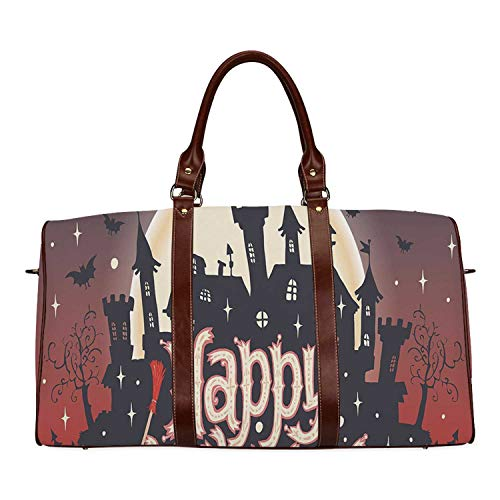 Halloween Practicality Travel Bag,Medieval Gothic Castle with Happy Halloween Typography Stars Bats Moon Cheerful for School,20.8
