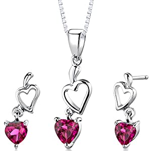 Peora Created Ruby Sweetheart Earrings Pendant Necklace Jewelry Set in Sterling Silver, Heart Shape, 2 Carats total…
