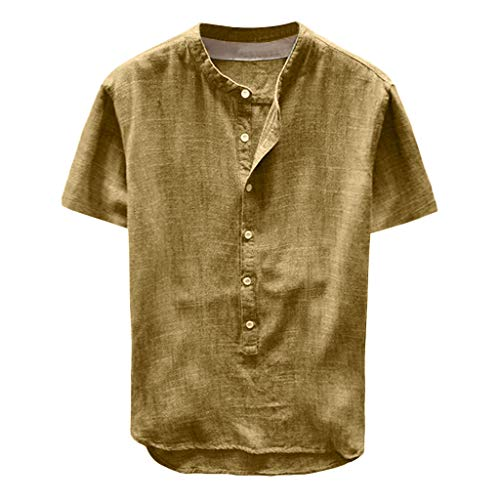Toimothcn Mens Button Down Shirt Casual Linen Cotton Long Sleeve/Short Sleeve Retro Top Blouse(Yellow1,XXL) ()