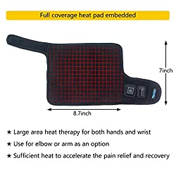 Creatrill Hand and Wrist Heated Wrap with 3 Level Controller - Brace with Pads for Moist Heat Therapy, Perfect for Arthritis, Carpal Tunnel Pain, Tendonitis, Chronic Injuries, Bruises, Sprains