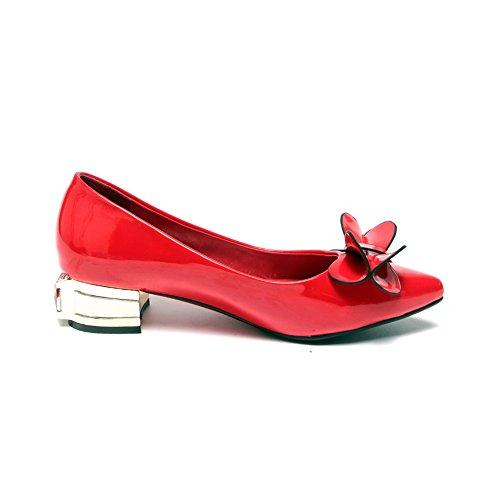 AllhqFashion Damen Rein PU Leder Niedriger Absatz Spitz Zehe Ziehen auf Pumps Schuhe Rot