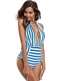 SHEKINI Mujer One Piece Bikini Trajes de baño bañadores Pin Up Monokinis Backless