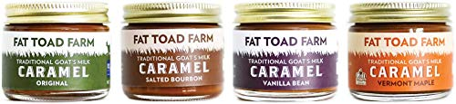 Creamy Goat Cheese - Fat Toad Farm Petit Quartet, 2oz, Traditional Goat's Milk Caramel Sauce, Original, Salted Bourbon, Vanilla Bean, Vermont Maple, Cajeta, Gluten Free