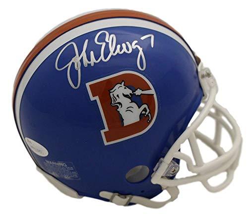 John Elway Autographed Denver Broncos Riddell D Logo Mini Helmet JSA