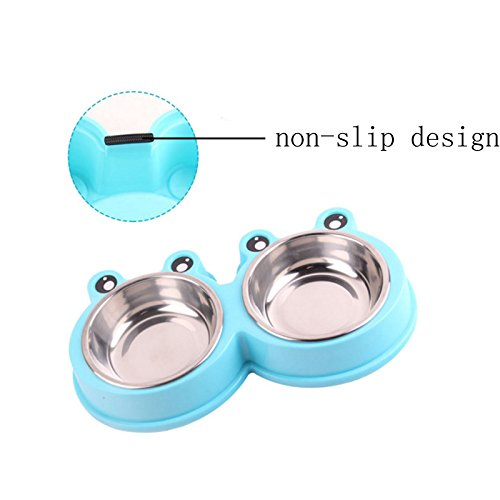 1PC Dual Use Cartoon Pet Dog Bowl Stainless Steel Travel Feeding Feeder Water Bowl for Pet Dog Cat Puppy Food Bowl Water Dish