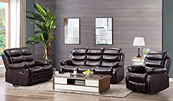 Harper Bright Designs Classic Bonded Leather Sectional Recliner Sofa Recliner Loveseat 3-Seat Sofa Recliner