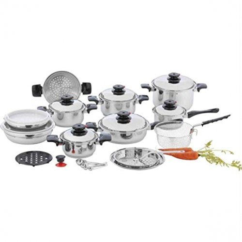 Chef's Secret 28pc 12-Element T304 Stainless Steel 'Waterless' Cookware