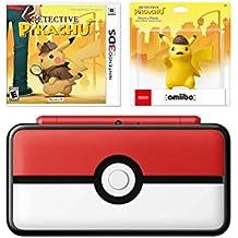 Nintendo New 2DS XL Pokeball Bundle: New Nintendo 2DS XL - Poke Ball Edition, Detective Pikachu and Pikachu Amiibo
