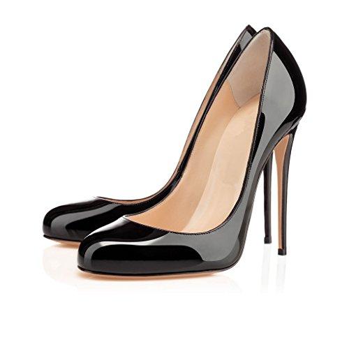 Arc-en-ciel zapatos de mujer punta redonda tacón alto Negro